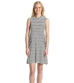 Trixxi® Sleeveless Striped Mock-Neck Swing Dress