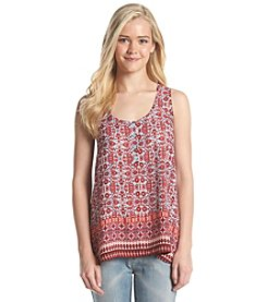 Pink Rose® Printed Henley Tank Top