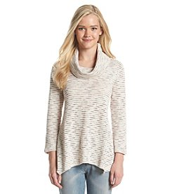 Eyeshadow® Striped Cowl-Neck Pullover Sweater