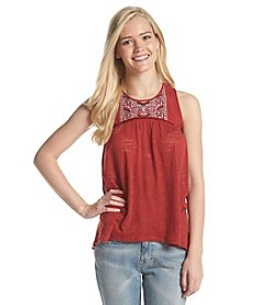 Eyeshadow® Embroidered Yolk Tank Top With Velvet Detail