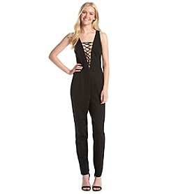 XOXO® Lace Up Ponte Jumpsuit