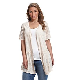 Living Doll® Plus Size Crochet Trim Cozy Tiered Cardigan