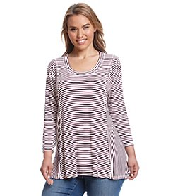 Eyeshadow® Plus Size Striped Panel Swing Tee