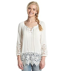 Sequin Hearts® Lace Trim Peplum Top