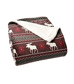 LivingQuarters Moose Fair Isle Patterned Sherpa Throw