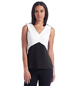 Calvin Klein Color Block V-Neck Top