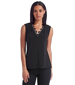 Calvin Klein V-Neck Lace Trim Top