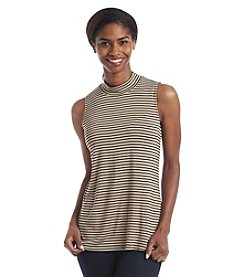 Cable & Gauge® Stripe Turtleneck Tank