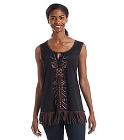 Fever™ Embroidered Faux Suede Tank