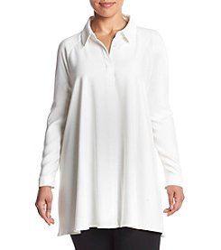 Chelsea & Theodore® Plus Size Solid Button Front Shirt