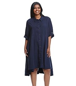 Chelsea & Theodore® Plus Size Solid Button Front High-Low Dress