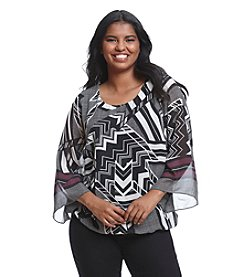AGB® Plus Size Geo Print Popover Top