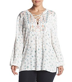 Democracy Plus Size Tie Neck Printed Peasant Top