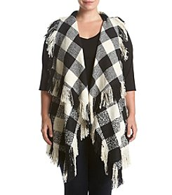 Chelsea & Theodore® Plus Size Plaid Vest With Fringe