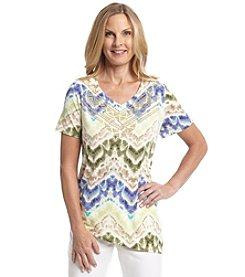 Alfred Dunner® Petites' Cyprus Watercolor Zig Zag Knit Top