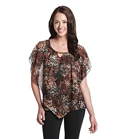 Notations® Petites' Printed Poncho Top With Contrast Hem