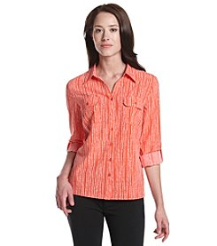 Notations® Petites' Striped Woven Top