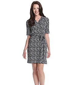 Jessica Howard® Petites' Grid Patterned Shift Dress