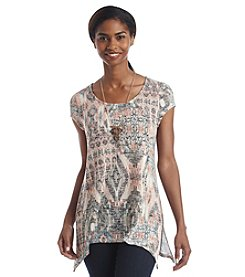 AGB® Abstract Ikat Print Top With Necklace