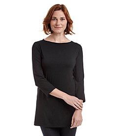 Laura Ashley® Petites' Solid Boatneck Tunic