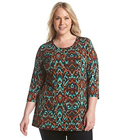 Laura Ashley® Plus Size Flame Stitch Pleat Back Tunic