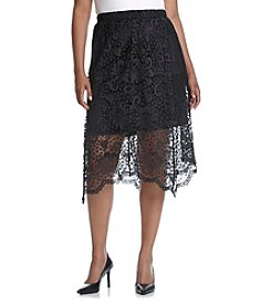 Relativity® Plus Size Lace Midi Skirt