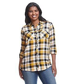 Relativity® Plus Size Plaid Woven Top