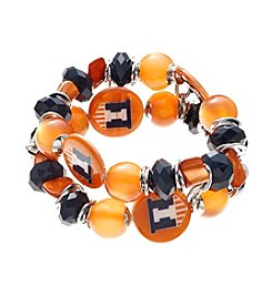 accessory PLAYS™ NCAA University Of Illinois Two Row Beaded Shell Stretch Bracelet
