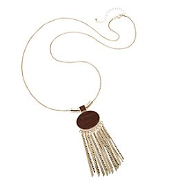 Relativity® Goldtone Long Necklace With Wood