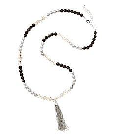 Relativity® Silvertone Beaded Necklace With Tassel