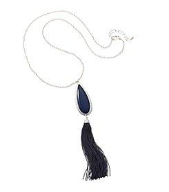 Relativity® Silvertone Teardrop Pendant Necklace With Tassel