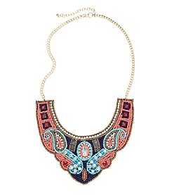 Relativity® Multi Color Seed Bead On Fabric Frontal Necklace