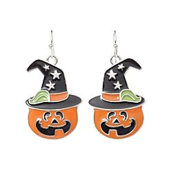 Studio Works® Silvertone Pumpkin Fishhook Earrings