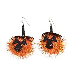 Studio Works® Silvertone Puff Drop Pumpkin Earrings