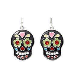 Studio Works® Silvertone Multi Color Sugar Skull Earrings
