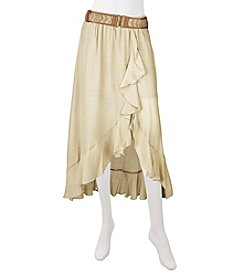A. Byer Ruffle Front Gauze Skirt With Belt