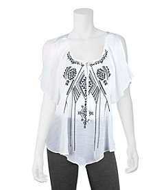 A. Byer Embroidered Front Gauze Top