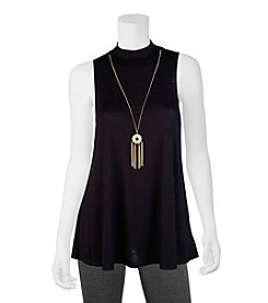 A. Byer Solid Trapeze Top With Necklace