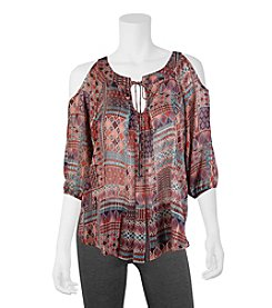 A. Byer Printed Cold Shoulder Peasant Top