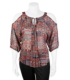 A. Byer Plus Size Printed Cold Shoulder Peasant Top