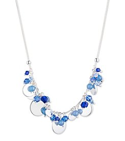 Nine West® Silvertone And Blue Shaky Frontal Necklace
