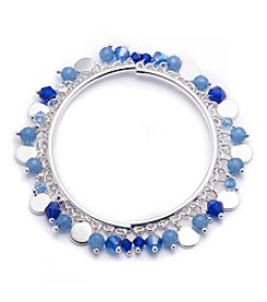 Nine West® Silvertone And Blue Shaky Stretch Bracelet