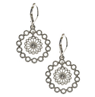 Nine West Vintage America Collection® Silvertone Orbital Drop Earrings plus size,  plus size fashion plus size appare