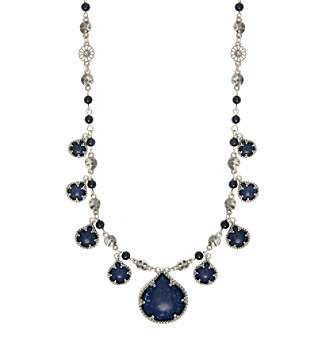 Nine West Vintage America Collection® Silvertone And Denim Beaded Frontal Necklace plus size,  plus size fashion plus size appare