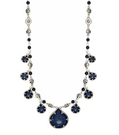 Nine West Vintage America Collection® Silvertone And Denim Beaded Frontal Necklace