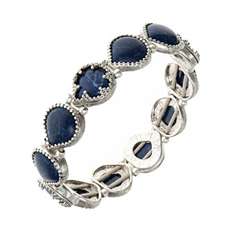 Nine West Vintage America Collection® Silvertone And Denim Stretch Bracelet plus size,  plus size fashion plus size appare