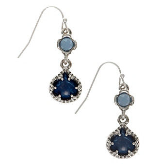 Nine West Vintage America Collection® Silvertone And Denim Double Drop Earrings plus size,  plus size fashion plus size appare