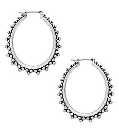 Lucky Brand® Abstract Silvertone Hoop Earrings