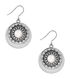 Lucky Brand® Silvertone Cultured Freshwater Pearl Circle Drop Earrings