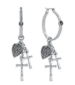 Lucky Brand® Silvertone Rock & Roll Charm Hoop Earrings